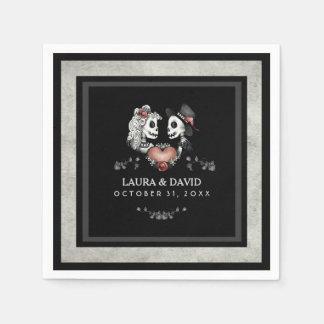 Halloween Black & White Skeletons & Heart Wedding Disposable Serviette