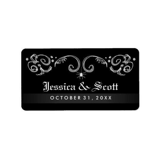 Halloween Black White Spider Gothic Scroll Wedding Label