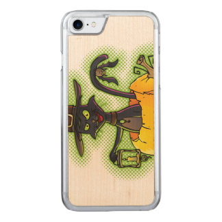 Halloween Black Witch Cat in Pumpkin Carved iPhone 7 Case