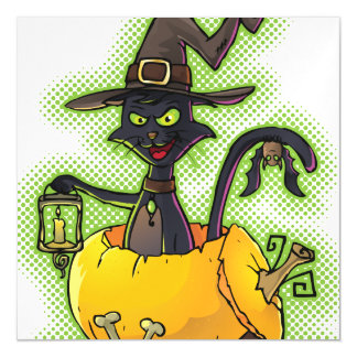 Halloween Black Witch Cat in Pumpkin Magnetic Invitations