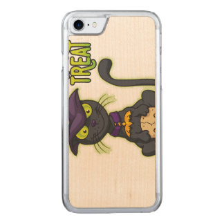 Halloween Black Witch Cat Trick or Treat Carved iPhone 7 Case