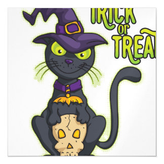 Halloween Black Witch Cat Trick or Treat Magnetic Invitations