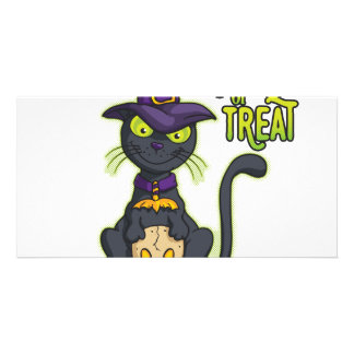 Halloween Black Witch Cat Trick or Treat Photo Cards