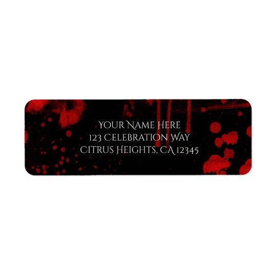 Halloween Blood Splatters Costume Party Invitation Return Address Label