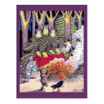 Halloween Bonfire with Bear and Brownies Postcards