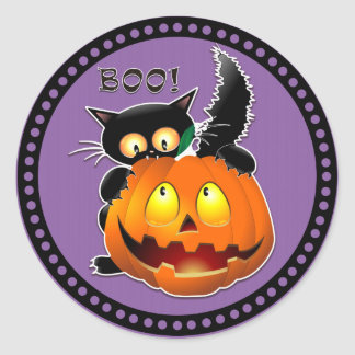 Halloween Boo Scary Cat Pumpkin Classic Round Sticker