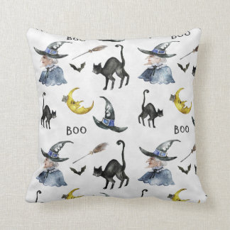 Halloween - Boo Witch & Cats Watercolors Cushion