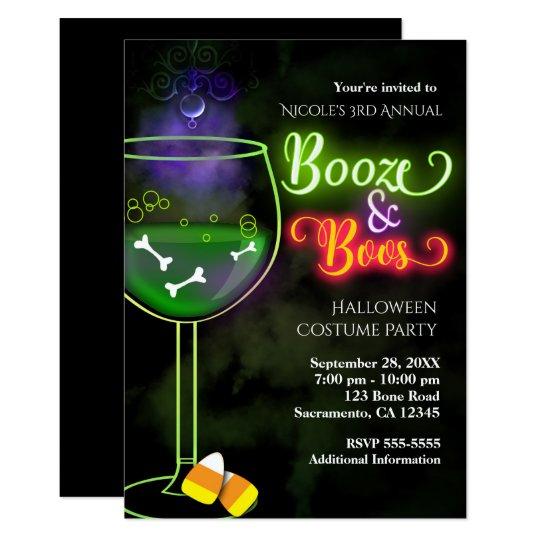 Halloween Booze and Boos Cocktail Party Invitation