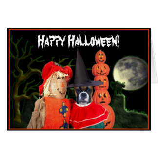 Halloween boxer dog greeting card