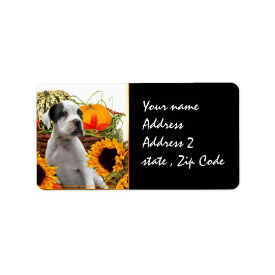 Halloween boxer puppy address label