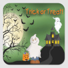 Halloween Boy Ghost Square Stickers