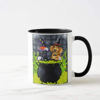 Halloween Brewing Up Trouble - Dachshund and Cat Mug