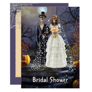 Halloween Bridal Shower Invitation with Skeletons