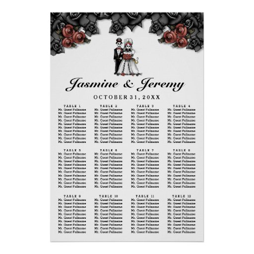 Halloween Bride Groom Poster Wedding Seating Chart