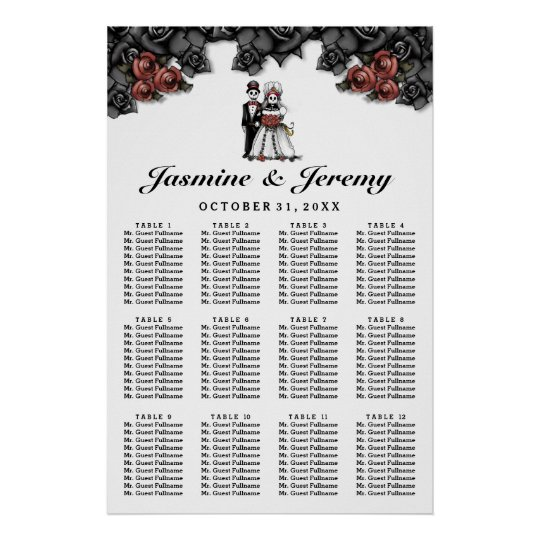 Halloween Bride Groom Poster Wedding Seating Chart