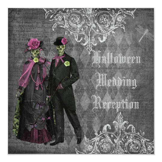 Halloween Bride & Groom Wedding Reception Only Card