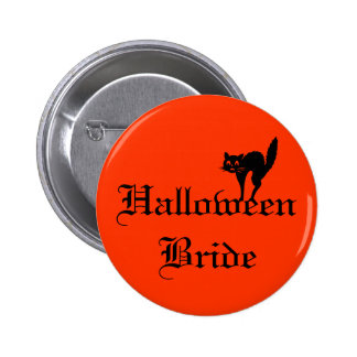 Halloween Bride with black cat 6 Cm Round Badge