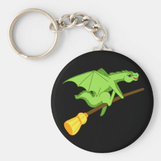 Halloween broomstick basic round button key ring