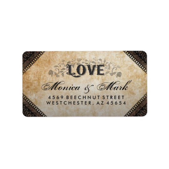 Halloween Brown Gothic LOVE Wedding Address Label