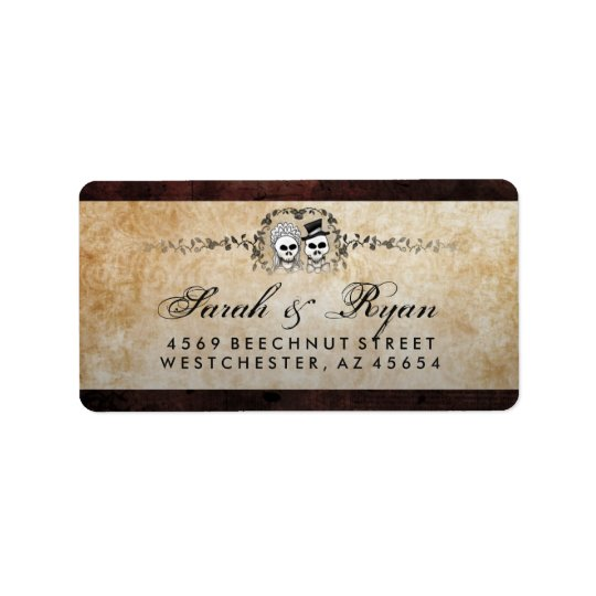 Halloween Brown Gothic Skeletons & Wedding Address Label