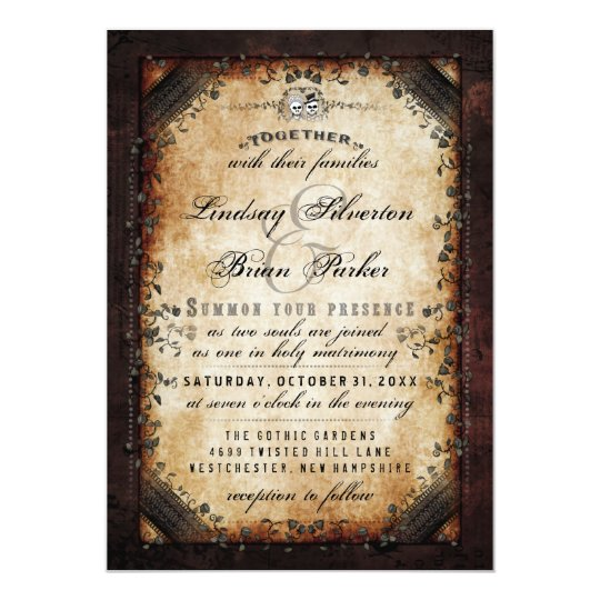 """Halloween Brown Gothic """"Together With"""" RECEPTION Card"""