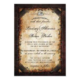 "Halloween Brown Gothic ""Together With"" Skeleton 13 Cm X 18 Cm Invitation Card"