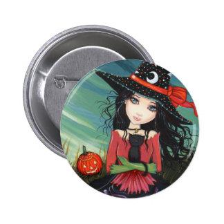 Halloween Button Pin Witch Cat Art