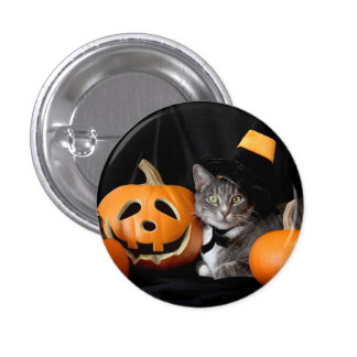 Halloween Button with Cat