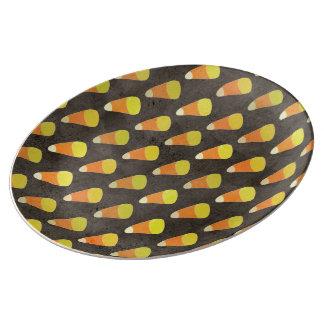 Halloween Candy Corn Pattern Porcelain Plate