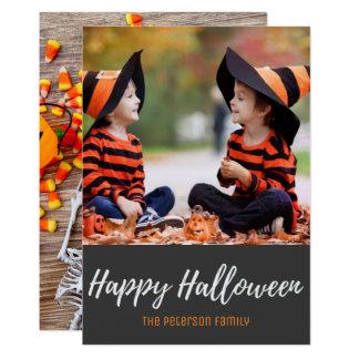 Halloween Candy Corn Skeleton Family Photo Card