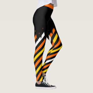 Halloween Candy Corn Striped Leggings