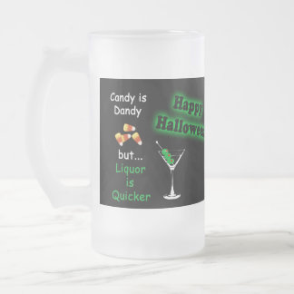 Halloween Candy is Dandy - Candy Corn & Martini Frosted Glass Mug