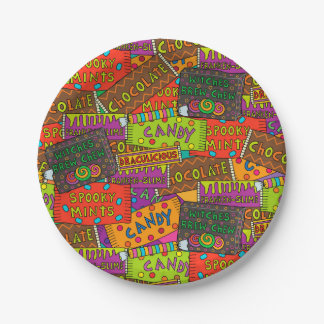 Halloween Candy Paper Plate