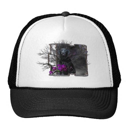 Halloween - Canine Moonlight - Black Labrador Mesh Hat