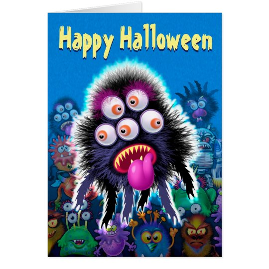 Halloween Card invitation MONSTER PARTY fun scary