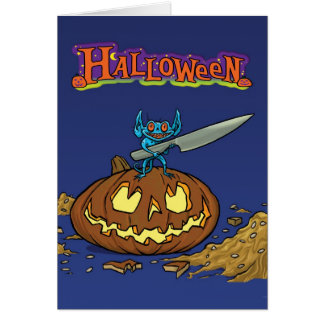 Halloween card with Imp weild a knife and pumkin