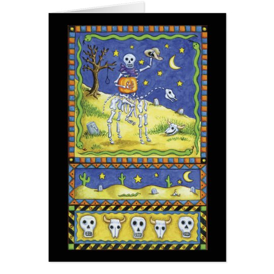 Halloween card with skeleton cowboy