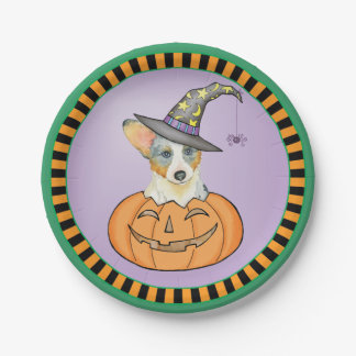 Halloween Cardigan Welsh Corgi Paper Plate