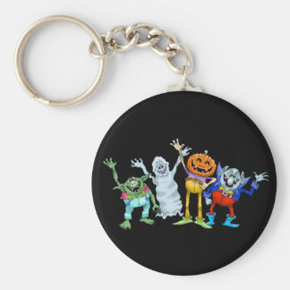 Halloween cartoon creatures waving basic round button key ring