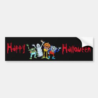 Halloween cartoon creatures waving bumper sticker
