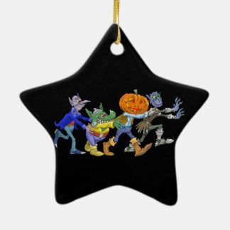 Halloween cartoon creatures waving ceramic star decoration