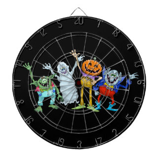 Halloween cartoon creatures waving, dartboard. dart boards