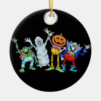 Halloween cartoon creatures waving, decoration. round ceramic decoration