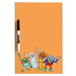 Halloween cartoon creatures waving. dry erase boards