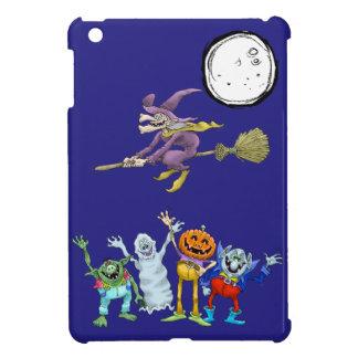 Halloween cartoon creatures waving. iPad mini covers