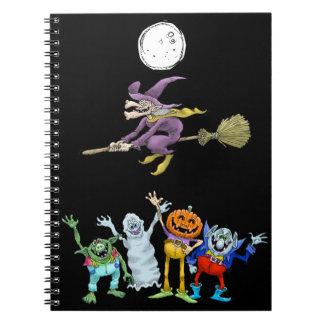 Halloween cartoon creatures waving, notebook. spiral notebook