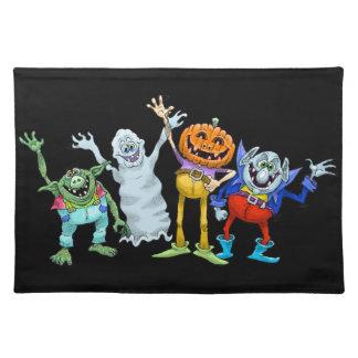 Halloween cartoon creatures waving, place mat. placemat