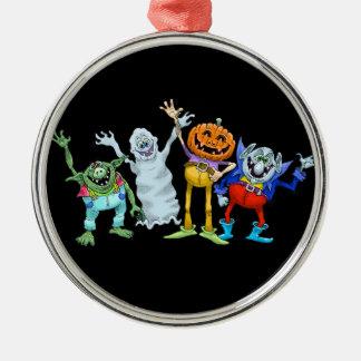 Halloween cartoon creatures waving Silver-Colored round decoration