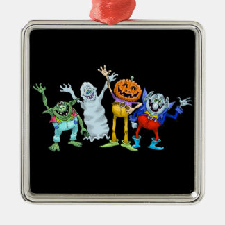 Halloween cartoon creatures waving Silver-Colored square decoration