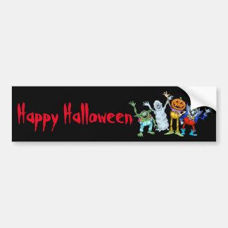 Halloween cartoon creatures waving, stickers. bumper sticker